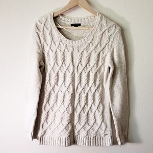Tommy Hilfiger sweater scoop neck cream cable M
